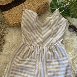 Gold and white striped romper, size Medium, NWT